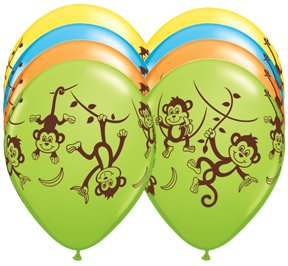 TEN-10-11-latex-MONKEY-GO-BANANAS-Happy-Birthday-PARTY-Balloons-Decorations-Supplies-0