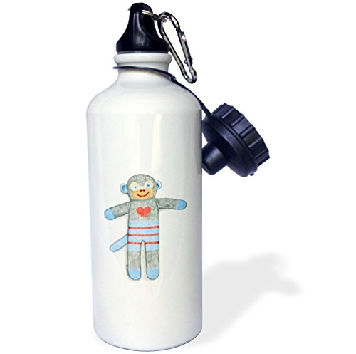 3dRose-wb233001-Sock-Monkey-Toy-Monkey-Kid-S-Toy-Cuddly-Cute-Heart-Illustration-Blue-Child-Sports-Water-Bottle-21-oz-Brown-0