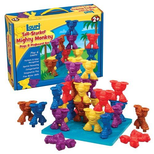 Lauri-Toys-Tall-Stacker-Mighty-Monkey-Pegs-and-Pegboard-Set-0