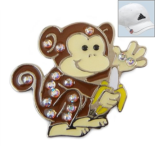 Navika-Swarovski-Crystal-Golf-Ball-Marker-Hat-Clip-Monkey-0