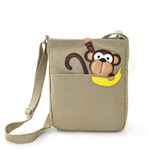 Peeping-Monkey-With-Banana-Canvas-Messenger-Bag-Khaki-0