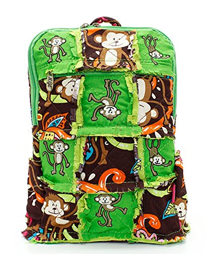 Quilted-Patchwork-Lime-Island-Monkey-Pattern-Backpack-0