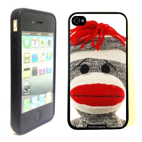 Sock-Monkey-Face-Protective-Designer-BLACK-Case-Fits-Apple-iPhone-4-4S-4G-0