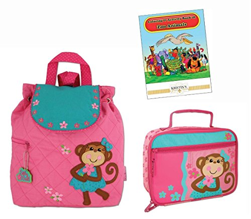 Stephen-Joseph-Quilted-Backpack-Lunch-Box-and-Coloring-Book-Set-Girls-Monkey-0
